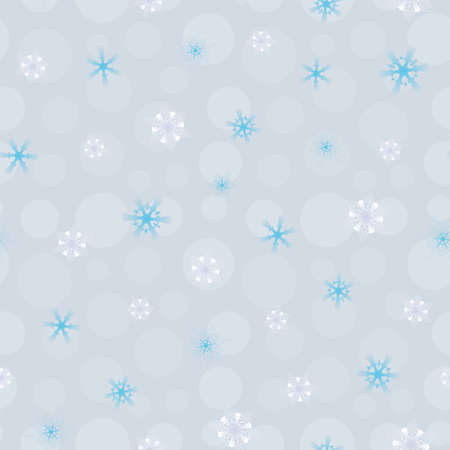 seamless pattern white, blue blurred snowflakes on blue background, Winter background Illustration