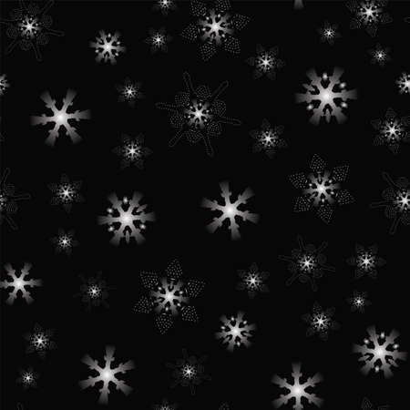 seamless pattern silver snowflakes on black background, Winter background