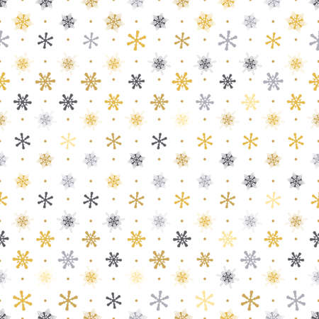 seamless pattern gold, silver snowflakes with dots on white background, Winter background. Illustration