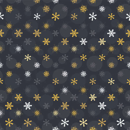 seamless pattern gold snowflakes on black background, Winter background. Illustration