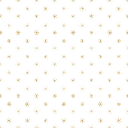 seamless pattern gold snowflakes on white background, Christmas and Winter background Illustration