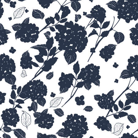 seamless pattern abstract round bouquet hydrangea flowers, leaves, stems silhouette design Illustration