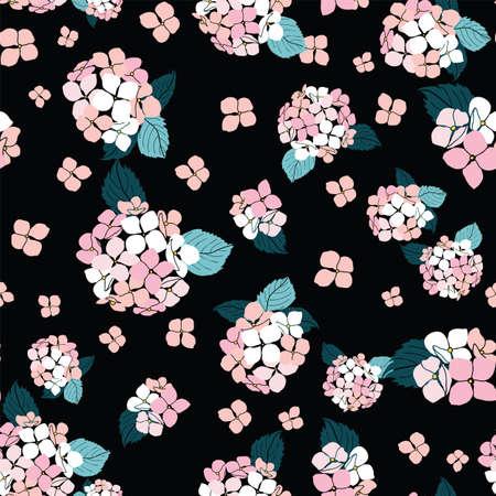 seamless pattern hand drawn pink round bouquet hydrangea flowers on black background design Illustration