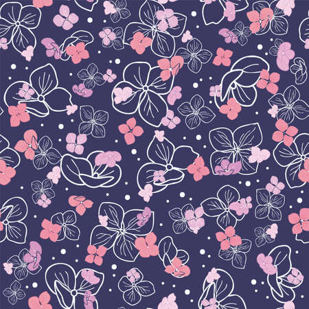seamless pattern hand drawn hydrangea flowers with dots design Illustration
