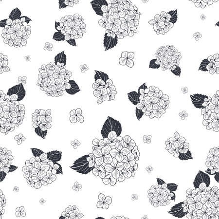 seamless pattern hand drawn black and white round bouquet hydrangea flowers with leaves design