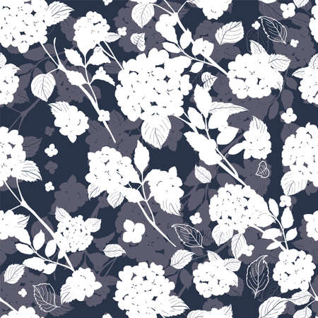 seamless pattern abstract white round bouquet hydrangea flowers, leaves, stems silhouette design