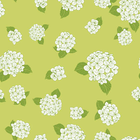 seamless pattern hand drawn white round bouquet hydrangea flowers with leaves on green background design Illustration