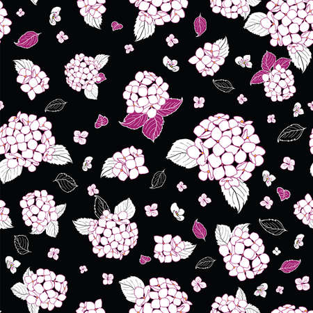 seamless pattern hand drawn white round bouquet hydrangea flowers with leavesdesign Illustration