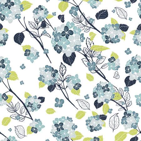 seamless pattern hand drawn blue round bouquet hydrangea flowers, stems leaves design Illustration