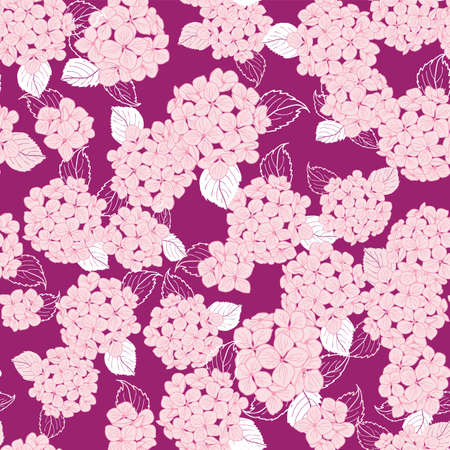 seamless pattern hand drawn pink round bouquet hydrangea flowers with leaves on white background design