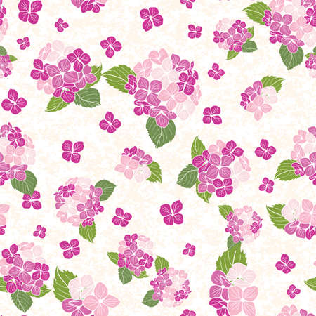 seamless pattern hand drawn round bouquet hydrangea flowers with leaves design Illustration