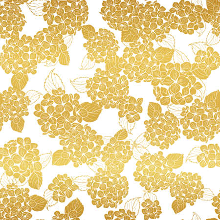 seamless pattern hand drawn gold round bouquet hydrangea flowers with leaves design