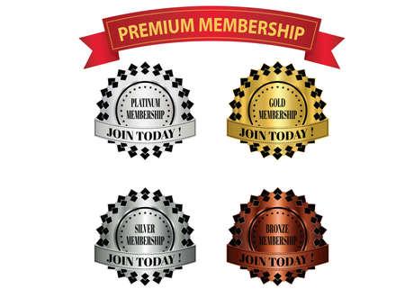 Premium-Mitgliedschaftsabzeichen, die für Angebote oder Werbeaktionen für Mitgliedschaftspläne verwendet werden können. Vektorgrafik