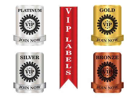 VIP-Mitgliedschaftsetiketten, die für Angebote oder Werbeaktionen für Mitgliedschaftspläne verwendet werden können.