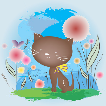 juniors: Cat sitting on the grass. illustrarion