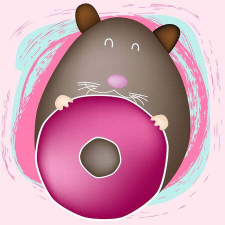 Mouse with donut, on pink background