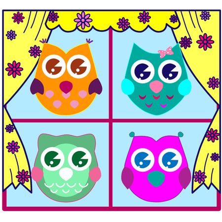Cute Collection of Bright Owls 일러스트