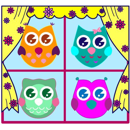 Cute Collection of Bright Owls 스톡 콘텐츠