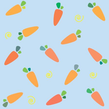 Pattern with carrots on blue background 스톡 콘텐츠