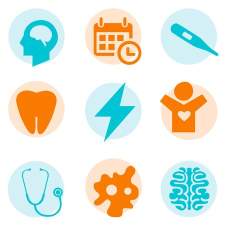 colorfully: medical set on white background Illustration