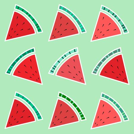 Slices of watermelon. Seamless background on green background