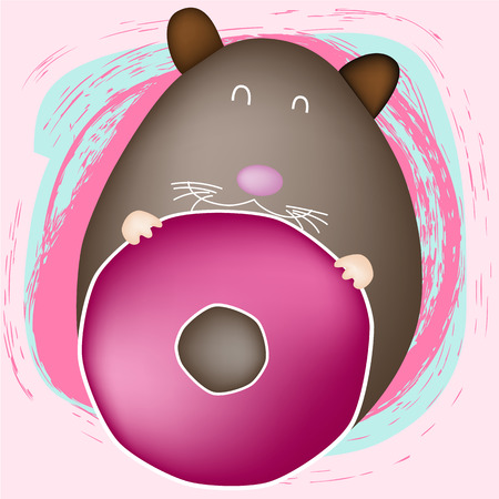 mouses and donut on pink background