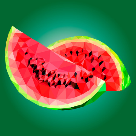 illustration watermelon, polygonal watermelon 일러스트