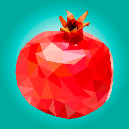 illustration pomegranate, polygonal pomegranate, low poly 일러스트