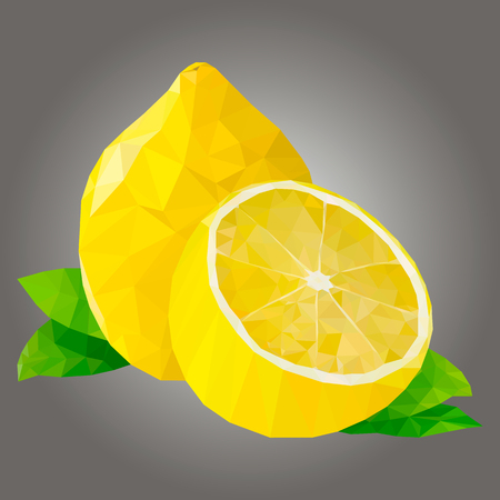 illustration lemon, polygonal lemon, low poly 일러스트