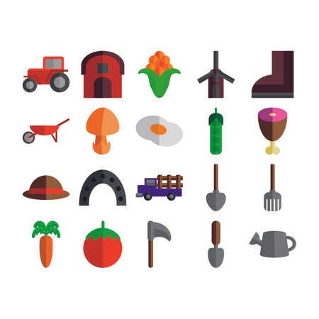 agricultural: Agricultural Icons Set Illustration