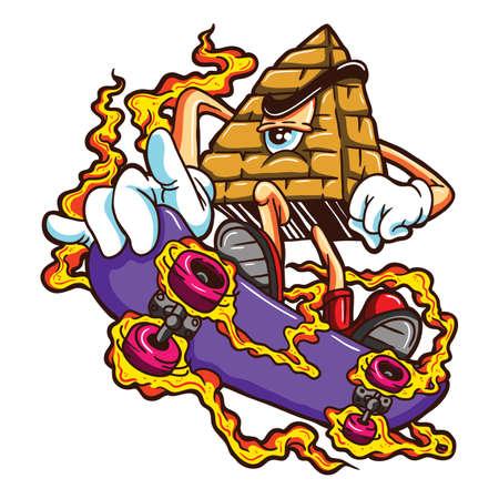 one eyed: Cartoon one eyed pyramid with skateboard