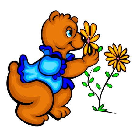 smelling: A cartoon bear smelling a flower Illustration