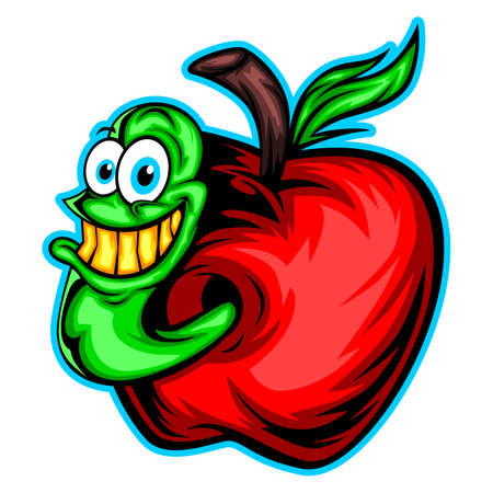 invader: A cartoon worm invading red apple Illustration