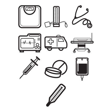 blood pressure monitor: A collection of medical and health themed icon Illustration