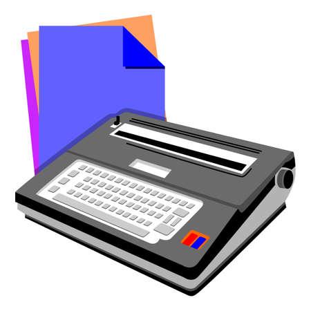 typewriter: an illustration of typewriter with paper background