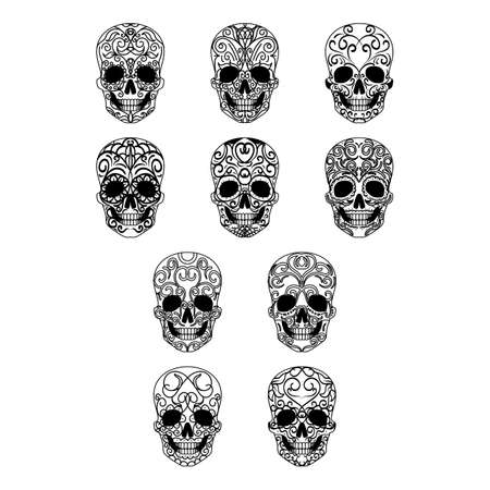 A collection of day of the dead skull themed icon