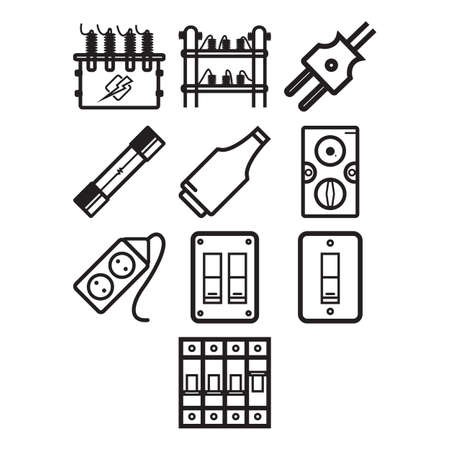 themed: A collection of electricity themed icon Illustration