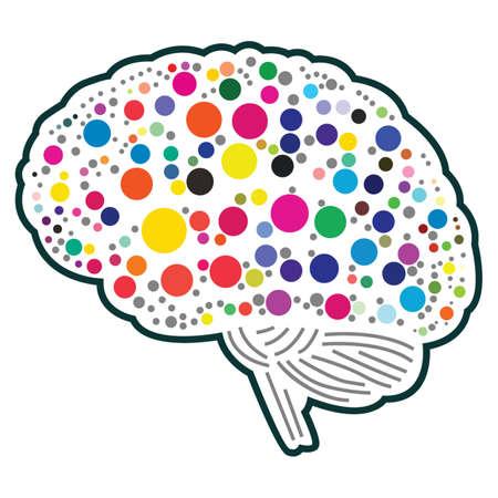 polkadot: An illustration of colorful polkadot brain Illustration