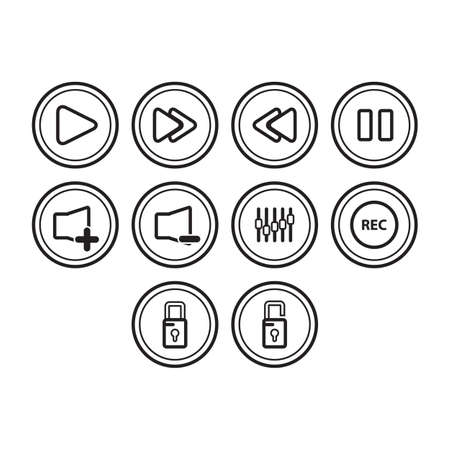 application button: A collection of application button icon Illustration