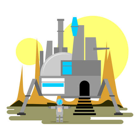 headquarter: A spaceship that use for a headquarter with background Illustration