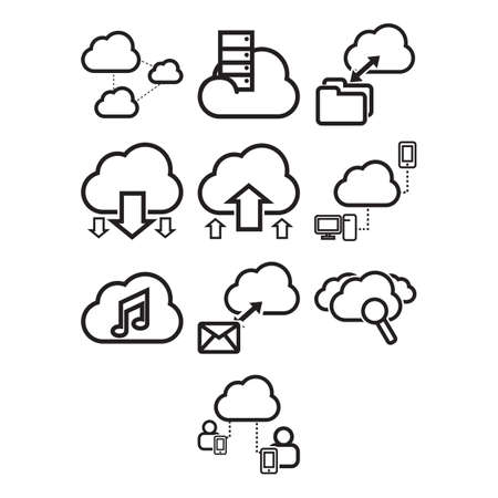 themed: A collection of cloud computing themed icon Illustration
