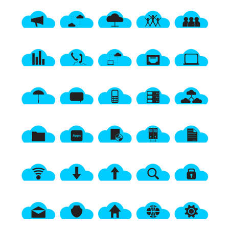 magnyfying glass: A collection of cloud computing themed icon Illustration