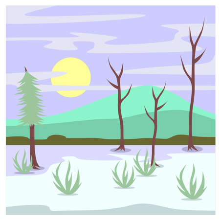 snowy hill: A beautiful landscape that show a snowy hill in the morning Illustration