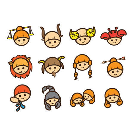 capricornus: Horoscope icon set