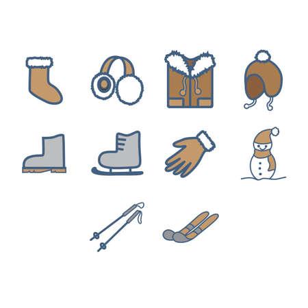 the season: Winter season icon set