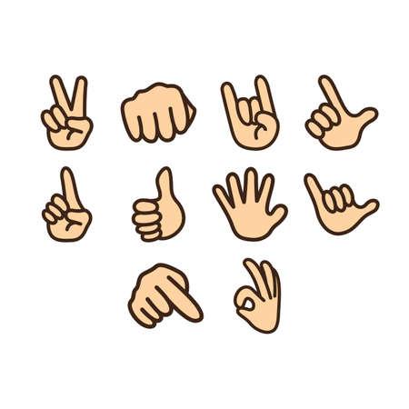 gesture set: Hand gesture icon set Illustration