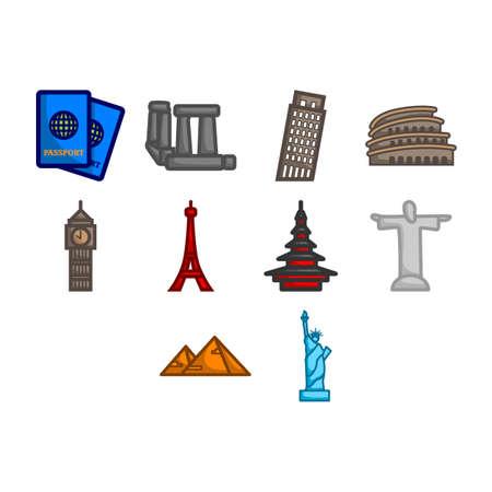 colloseum: World travel icon set