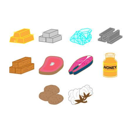 commodities icon set Illustration