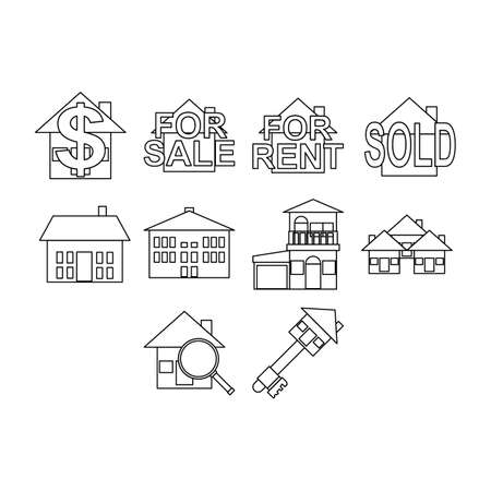 house for sale: real estate icon set Illustration