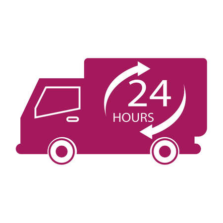free shiping: Purple simple flat colour free 24 hours truck icon vector.